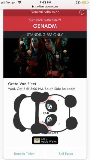 Greta van fleet dallas Tx - 2 electronic ga tickets for Sale in Dallas, TX