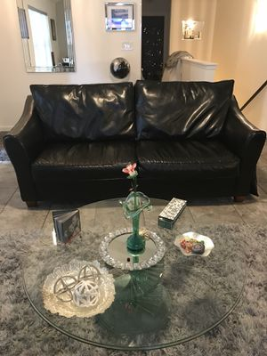 Black leather sofa, oversize chair and ottoman. for Sale in Sykesville, MD