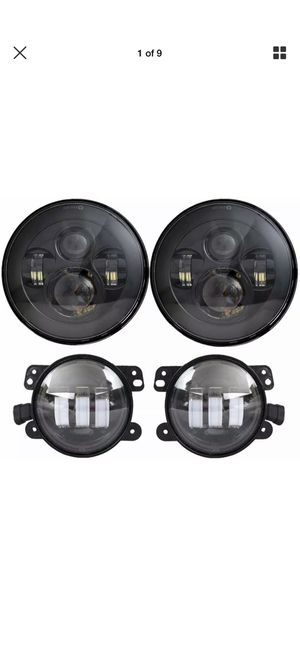 Photo DOT Approved 7'' Black LED Headlights + 4 ''Cree LED Fog Lights for Jeep Wrangle