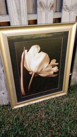 Beautiful Pain gold trim white flower magnificent. Thumbnail
