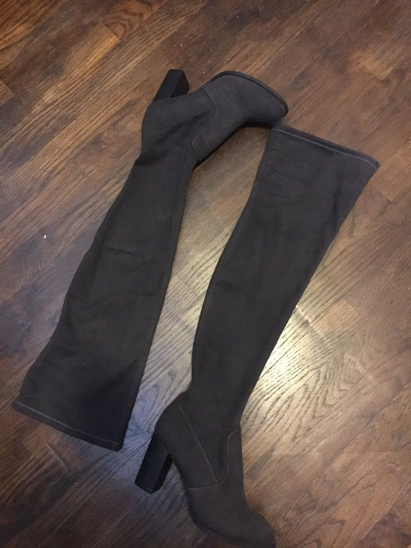 081f10830c4 Suede Dark Grey Thigh High Heel Boots UK 5.5 US 8 for Sale in ...