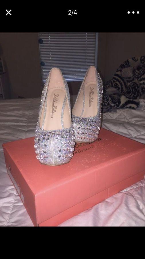 Silver Jeweled Stilettos