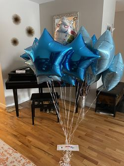 Inflated Foil Balloons: 15 Blue Birthday Theme Thumbnail