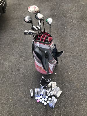 Slazenger Philosophy Women's Golf Bag w/ 10 Clubs, TONS of Balls & Tees $300 or best offer for Sale in Silver Spring, MD