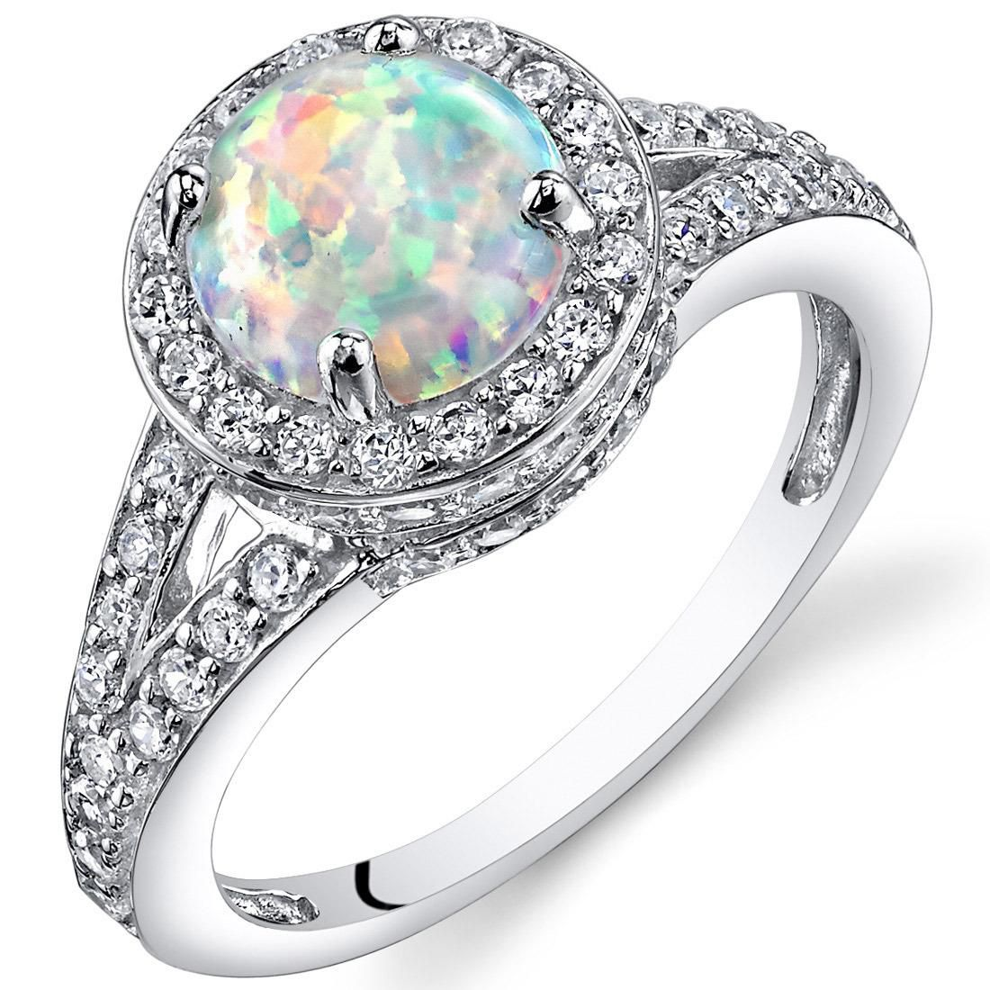 Opal Halo Ring Sterling Silver 1.25 Cts Sizes 5 to 9 SR11168 Size 5