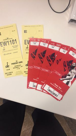 5 tickets 3 parking passes to the wizards vs suns. Free beer/wine!!! 11/01/2017 for Sale in undefined