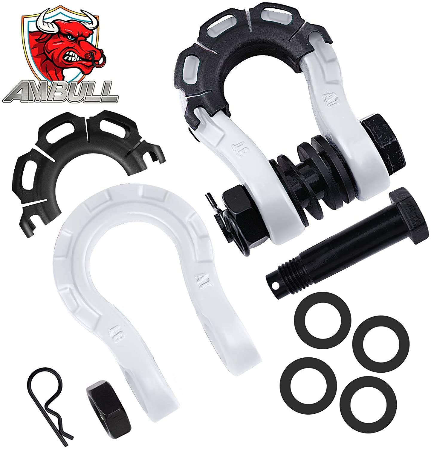 """AMBULL Shackles Upgrade 3/4"""" D Ring Shackle (2 Pack) 68,000 lbs Break Strength with 7/8"""" Pin, Isolator and Washer Kits for Use with Tow Strap, Winch,"""