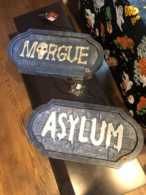 Morgue and asylum Halloween hanging decorations with LED lights and scary sounds for Sale in Fairfax Station, VA