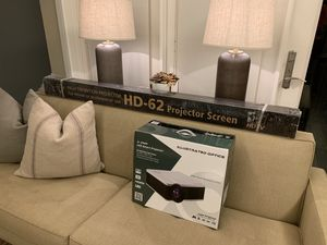 "Illustrated Optics (IL-2120) 4K Full HD (3D) LED Smart Projector & 72"" 3D HD-62 Projector Screen for Sale in Houston, TX"