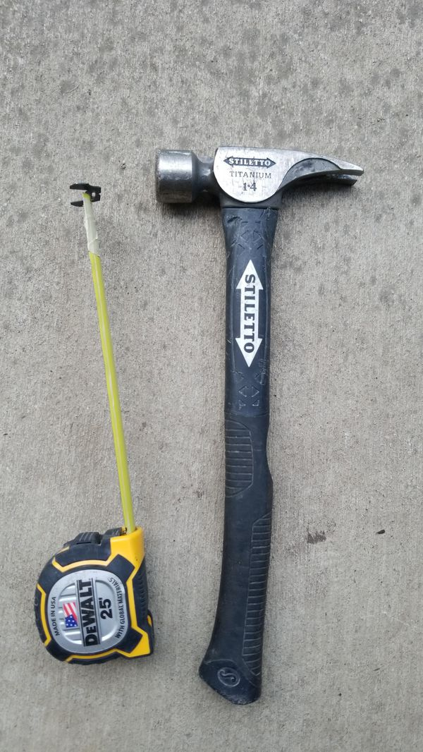 Stiletto titanium framing hammer + bonus 25\' dewalt tape measure for ...