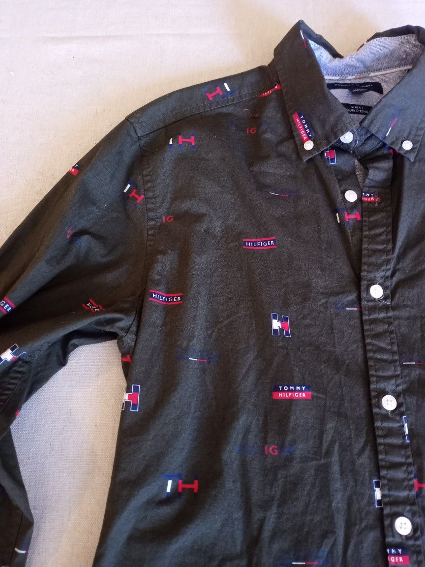 Tommy Hilfiger Monogram Slim Fit Long Sleeve Shirt Nwot Size Medium