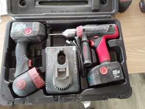 Photo 18 volt snap-on drill LED light two batteries rapid charger