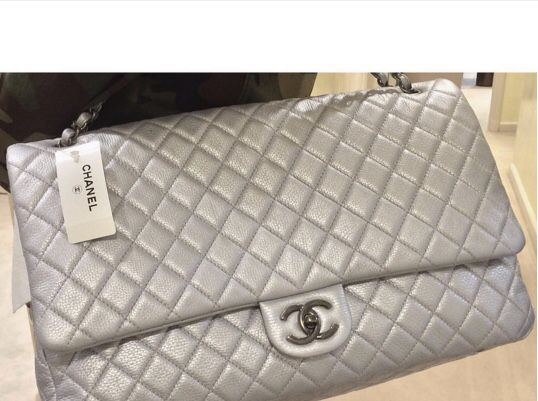 f5817c94e219 Chanel XXL Classic flap silver color+ 🎁 a gift of CHANEL EARRING 😉.  Fremont ...