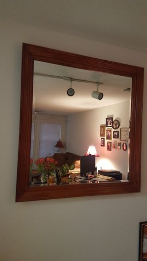 Large mirror with REAL wood frame for Sale in Apex, NC