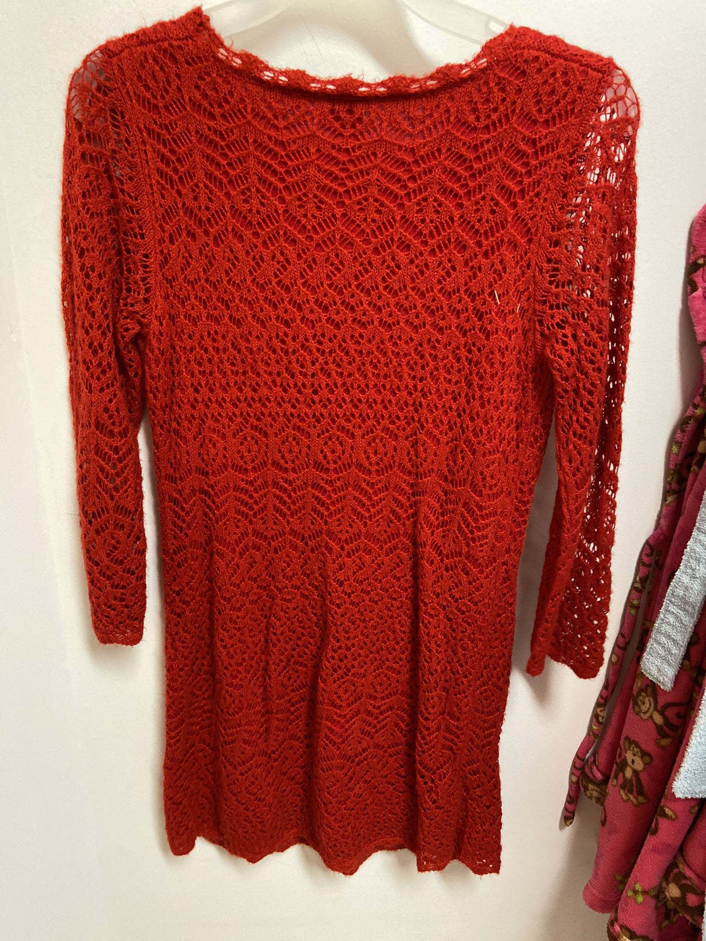 Cat & Jack red long sleeve dress, size 14/16 girls