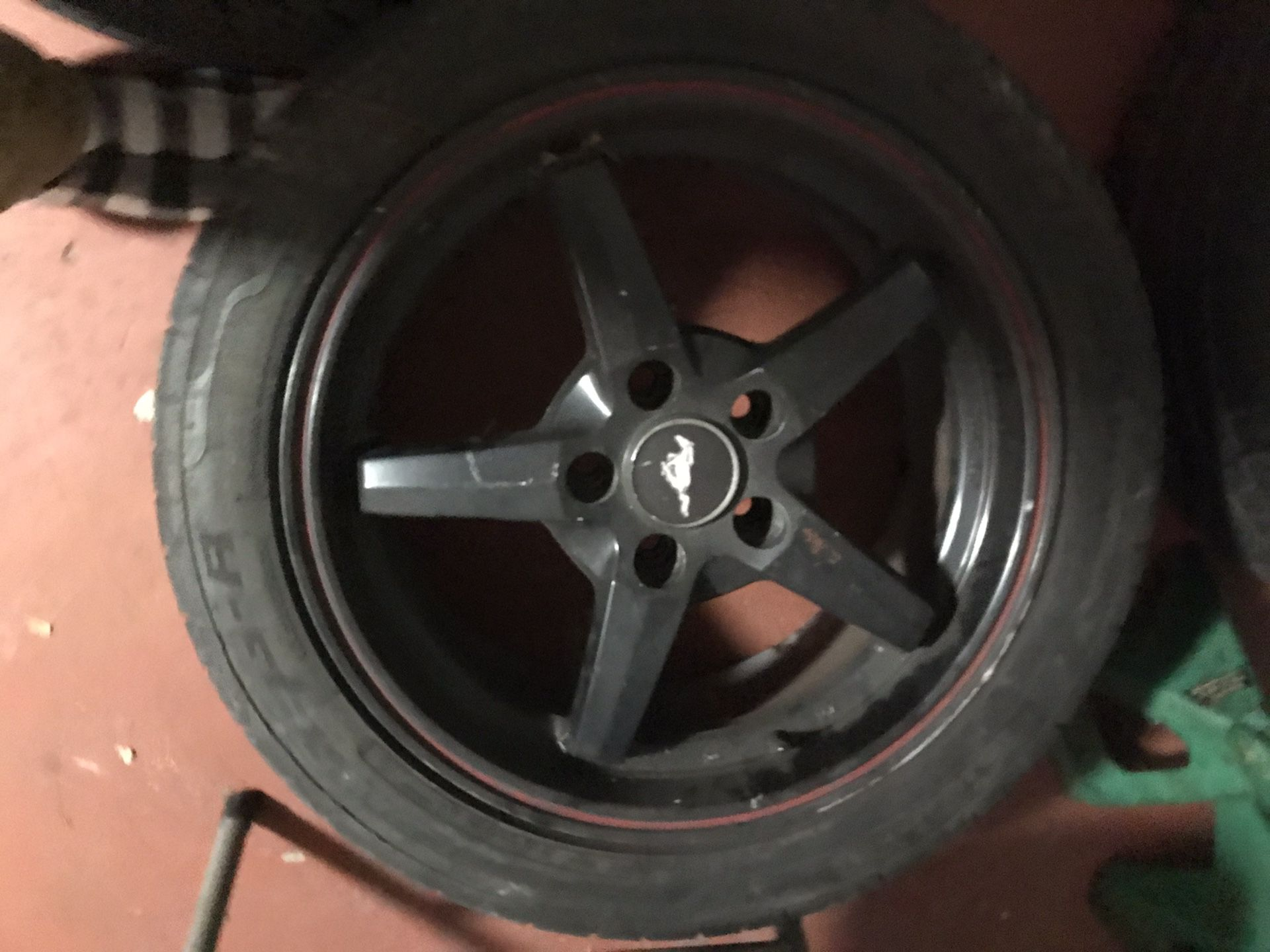 4 wheels with tires staggered