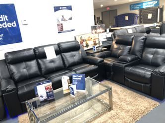Brand new black leather reclining sofa and loveseat Thumbnail