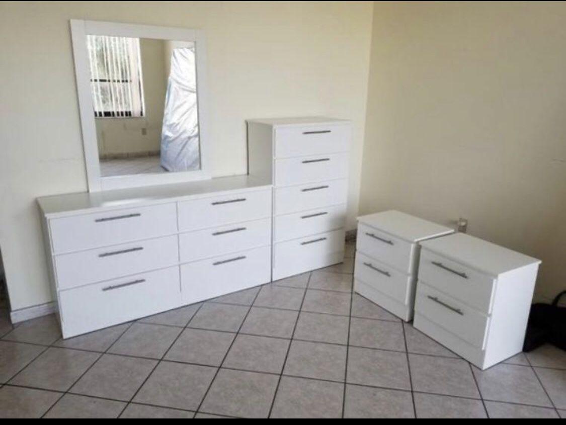 Dresser With Mirror, Chest And 2 Nightstands 💫 Cómoda Con Espejo, Gavetero Y 2 Mesitas De Noche