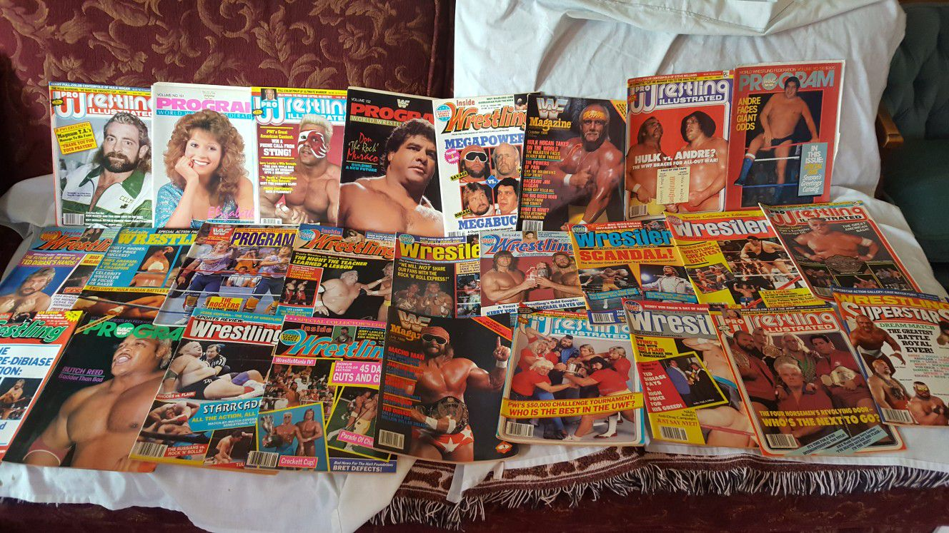 Wrestling WWF wrestling magazines dating as far back as 1985 up to up to 71 books