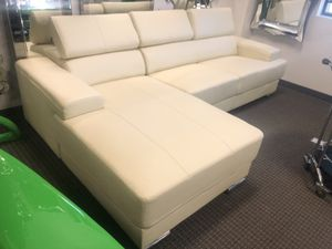 Off white leather sectional sofa for Sale in Alexandria, VA