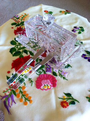 Lovely Crystal butter dish with 2 knifes / welcome to visit for Sale in Alexandria, VA