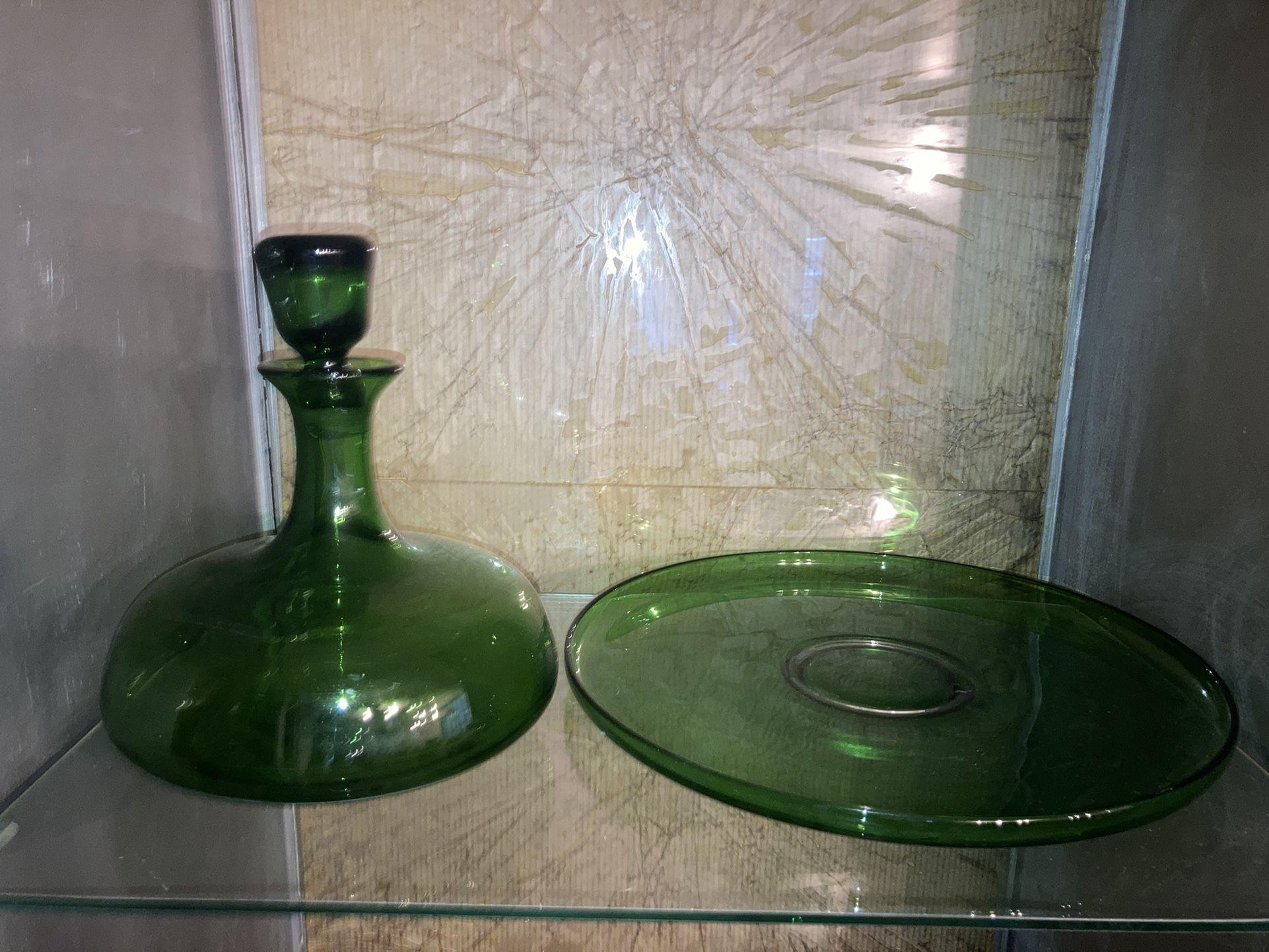 Dark Green Glass Kitchen Set