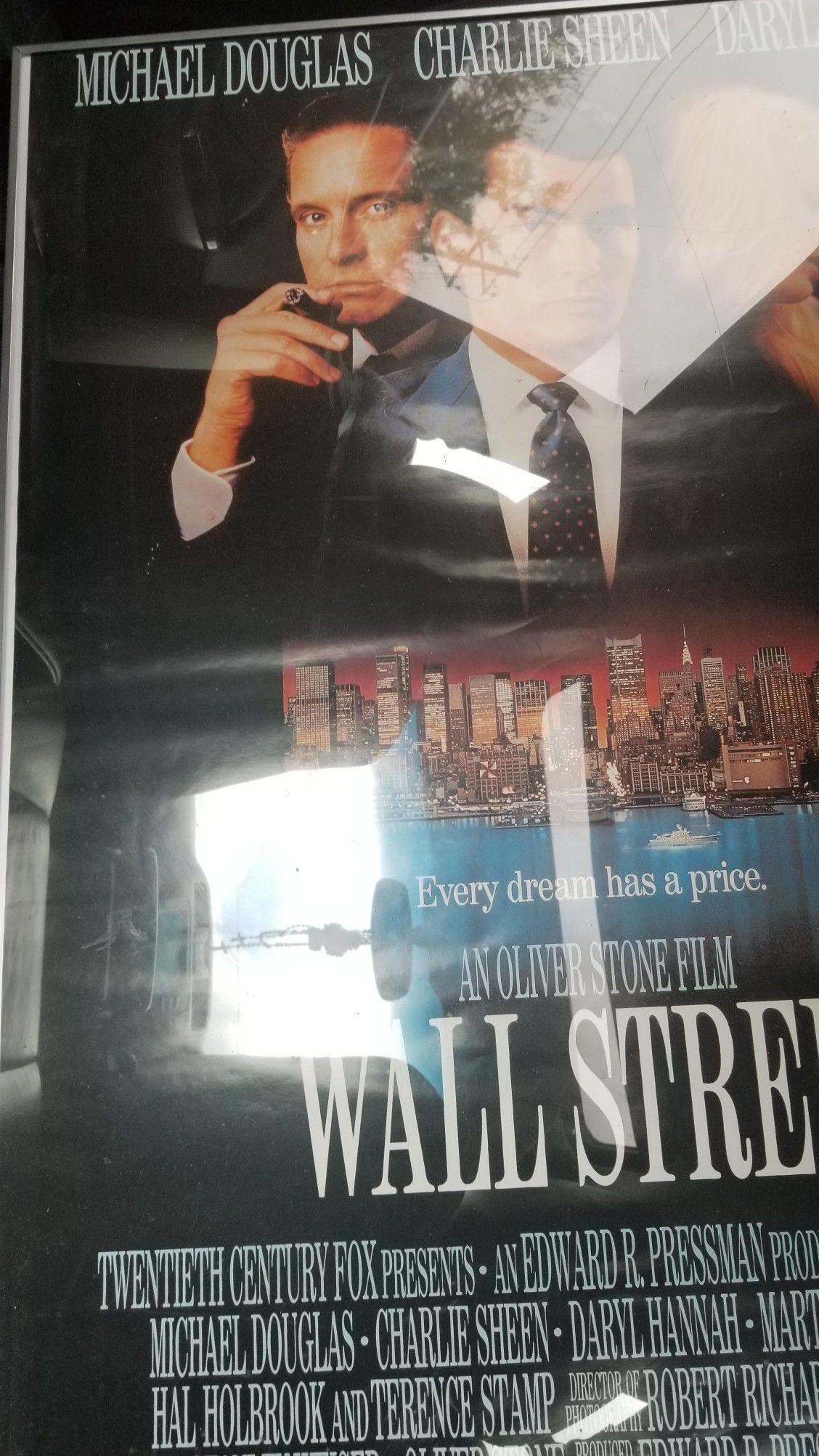 Framed Wall Street movie poster