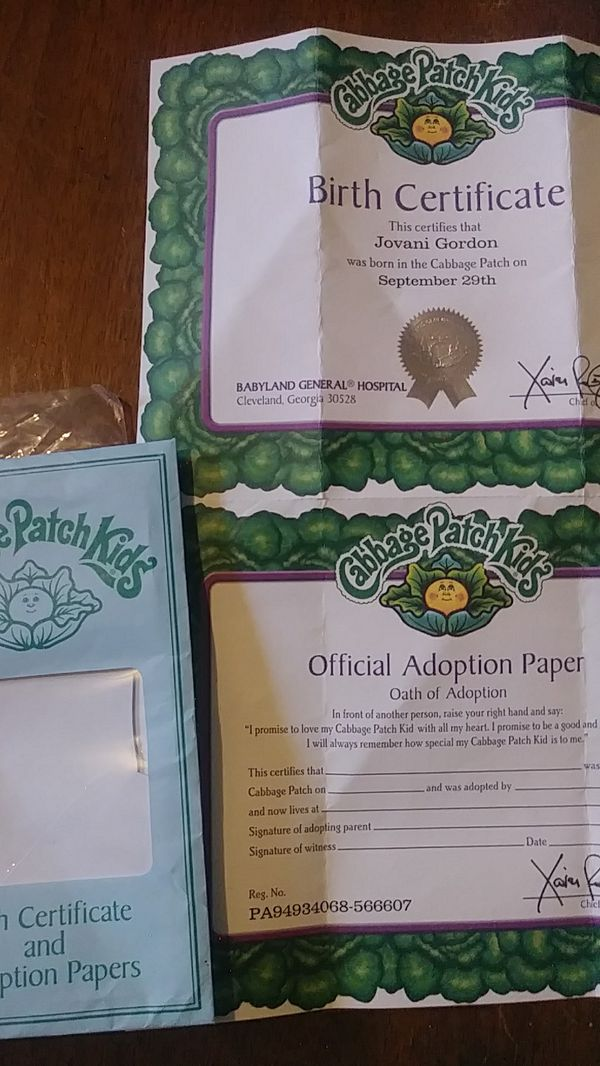 Cabbage Patch Kid Birth Certificate For Sale In Marysville Wa Offerup