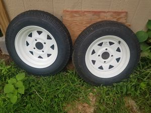 2Pack - 4.80X12 Loadstar Trailer Tire LRB on 4 Bolt White Spoke Wheel for Sale in Silver Spring, MD