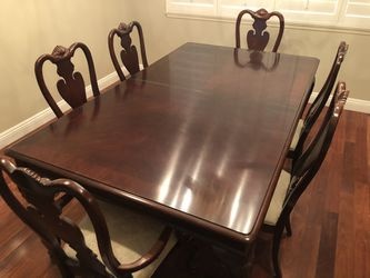 Hutch dining room table, chairs, and china cabinet Thumbnail