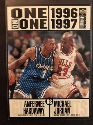 Photo Michael Jordan 1996 Upper Deck Basketball Card 1 on 1. Air Jordan Chicago Bulls Anfernee Hardaway Orlando Magic Basketball Trading Card
