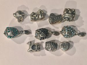 Sterling silver bracelet charms. Fits pandora bracelet fish shell Mom family camel ship Christmas gift for Sale in NEW PRT RCHY, FL