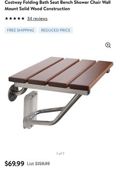 Costway Folding Bath Seat Bench Shower Chair Wall Mount Solid Wood Construction Thumbnail