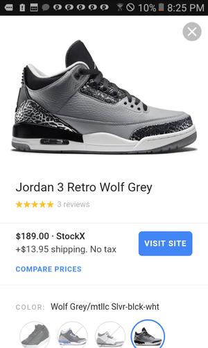 Grey jordan 3 retro  s size 10.5 for Sale in West Richland 3fa3e450230b
