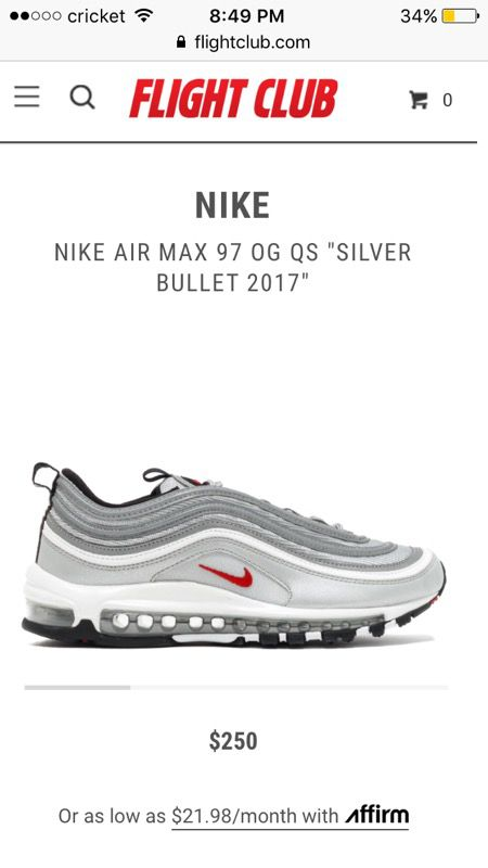 Nike Air Max 97 Silver Bullet Men s Og Size 9.5 for Sale in Fort ... bf6ff4dab669