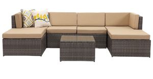 Los Angeles Ca 7 Piece Outdoor Patio Furniture Set Modular Sectional Sofa Grey Wicker For