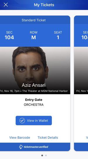 Aziz Ansari - MGM National Harbor 11/16 for Sale in Alexandria, VA