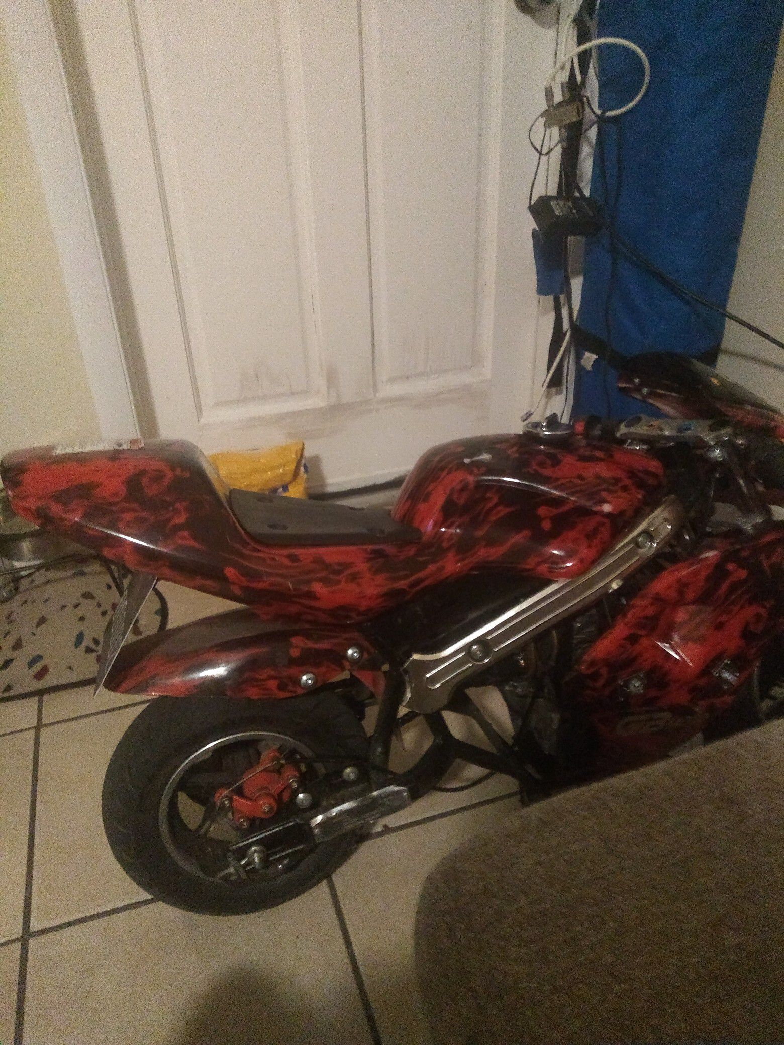 Pocket bike run great great fun for kids my son out grow it I just put new gas line it run good