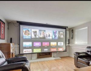 Home theater room - Optoma Projector, Elite Screens Projection Screen, receiver and speakers for Sale in Fairfax Station, VA