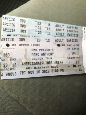 Tiket Para Marc Anthoni 125$ Cada Uno Todo Vendido No Hay Tiket for Sale in Miami, FL