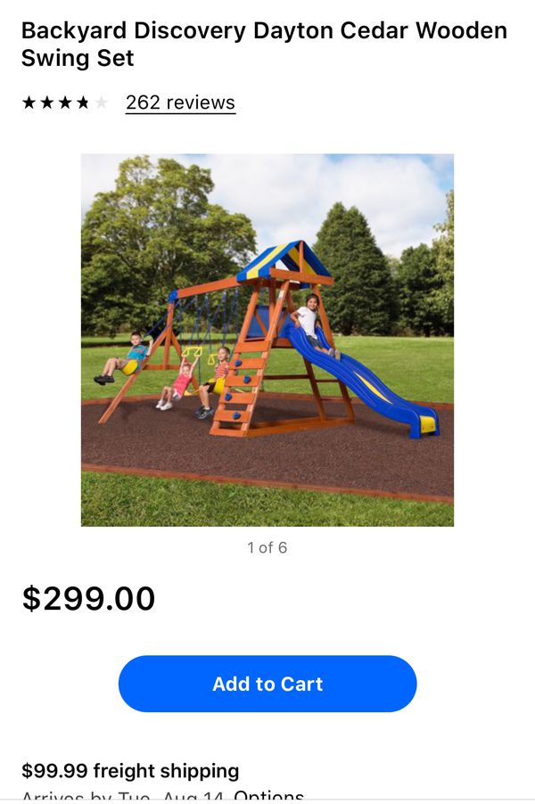 Bachyard Discovery Dayton Cedar Wooden Swing Set For Sale In