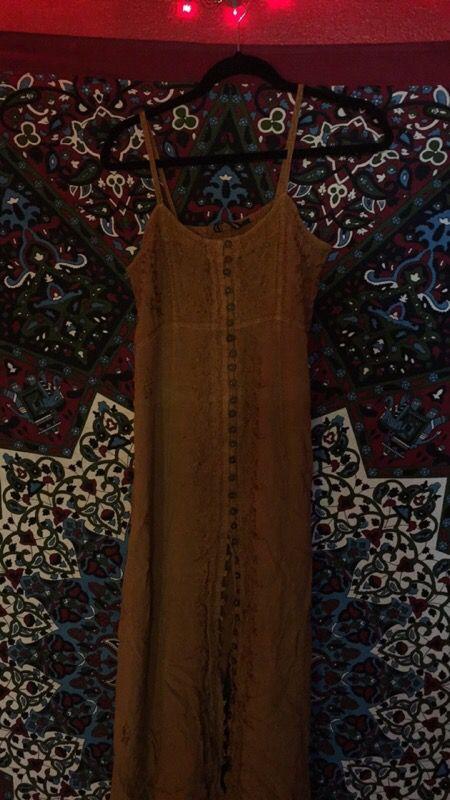 Hippy maxi button up dress