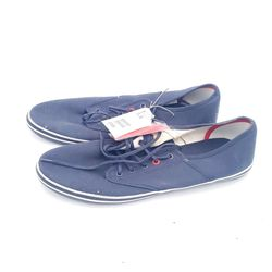 H&M Mens Sneakers Blue Canvas Lace Up 10 Thumbnail