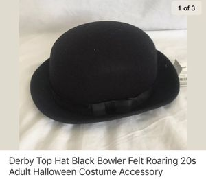 Derby Top Hat Black Bowler Felt Roaring 20s Adult Halloween Costume Accessory for Sale in Union City, CA