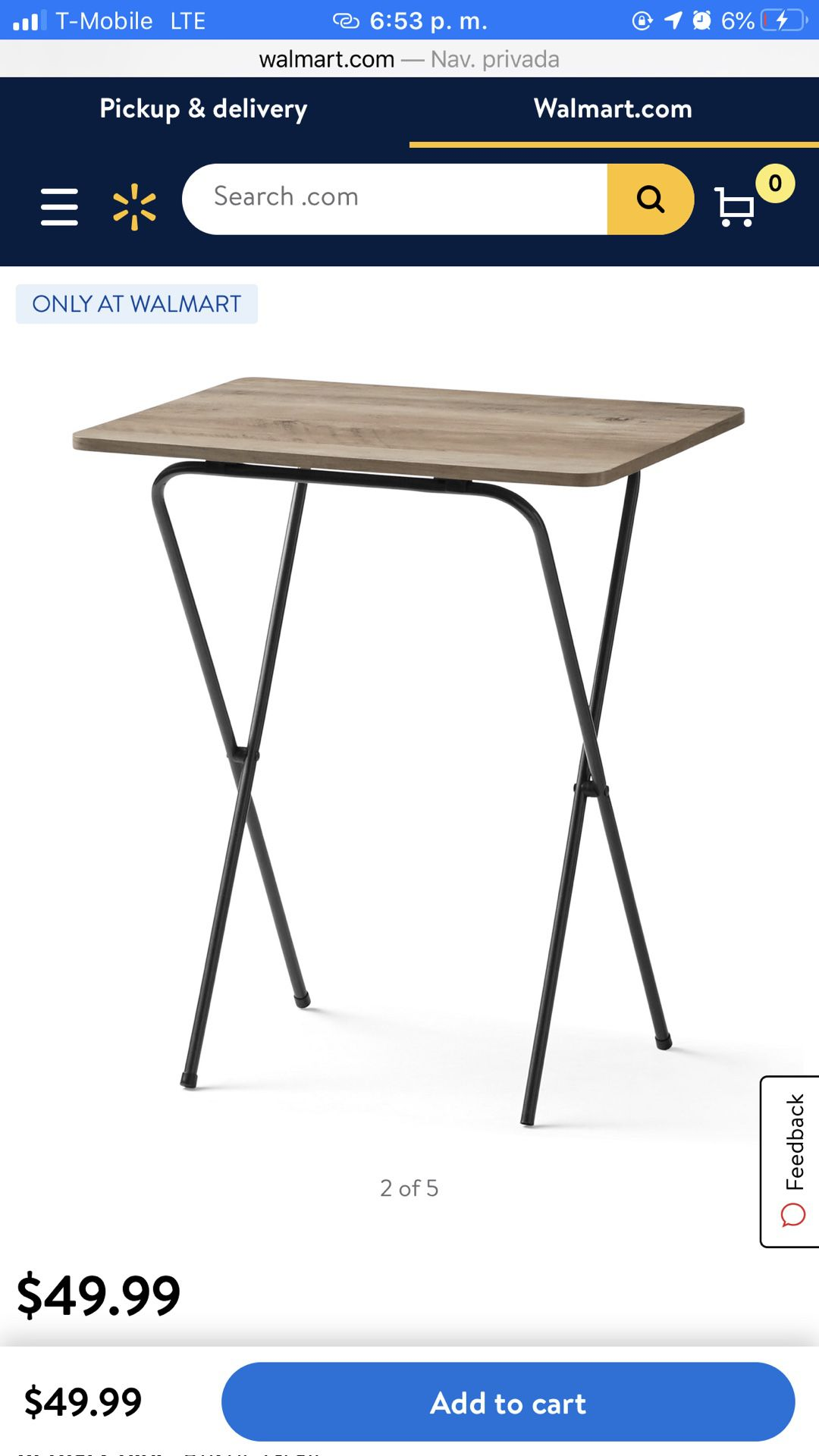 Mainstays 5-Piece Folding Tray Table Set with Stand