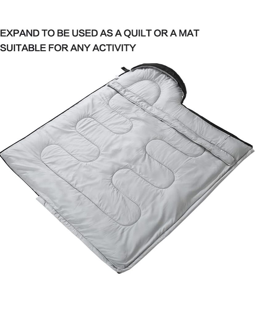 Sleeping Bag for Adults and Kids - Portable, Comfort, Extra-Wide Car Camping, Hiking, Backpacking, Great for 4 Season Warm & Cold Weather DARK GREY/