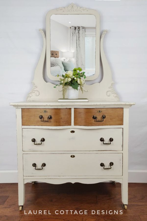 Painted Dresser With Mirror Vintage Farmhouse Shabby Chic White
