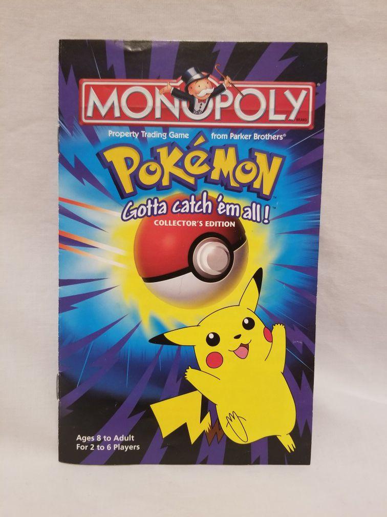 1998 POKEMON MONOPOLY, COLLECTOR'S EDITION