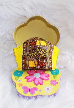 3 layered Yellow Dashiki (African Print) Face Mask Thumbnail