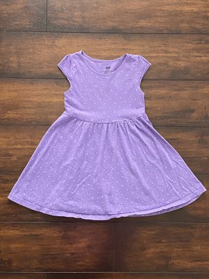 Photo Baby girl clothes H&M toddler lavender and white polka dot dress size 2-4Y fits size 3T